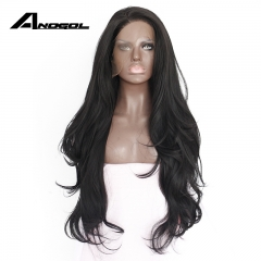 Anogol Free Cap+Natural Hairline Long Natural Wavy Hair Wigs Synthetic Lace Front Wig for Women Natural Black 20 inches