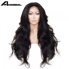 Anogol Free Cap+Fashion Body Wave Hair Wigs with Natural Hairline Synthetic Lace Front Wig for Women Natural Black 24 inches