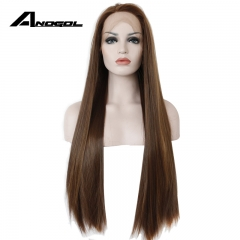 Anogol Free Cap+Natural Hairline Long Straight Remy Hair Wigs Synthetic Lace Front Wig for Women Natural Brown 24 inches