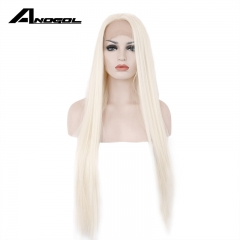Anogol Free Cap+Long Straight and Remy Hair Wigs Synthetic Lace Front Wig  for Women blonde 20 inches