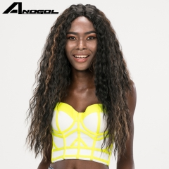 Anogol Free Cap+Natural Wavy Hairstyle Kinky Curly Long Hair Wigs Synthetic Lace Front Wig Black Highlights Brown 24 inches