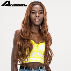 Anogol Free Cap+Hairstyle Middle Part Long Body Wave Hair Wigs Synthetic Lace Front Wig for Women Black Ombre Brown 20 inches