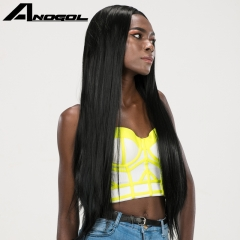 Anogol Free Cap+Daily Hair Cut Smooth Long Straight Remy Hair Wigs Synthetic Lace Front Wig Natural Black 24 inches