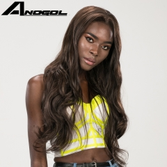 Anogol Free Cap+High Density Middle Part Long Body Wave Hair Wigs Synthetic Lace Front Wig for Women Brown 22 inches