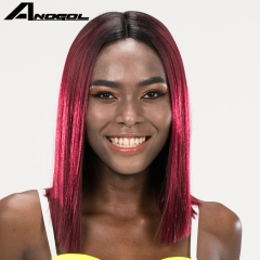 Anogol Free Cap+Fashion Short Bob Hairstyle Straight Remy Hair Wigs Futura Synthetic Lace Front Wig Black Ombre Rose Red 14 inches