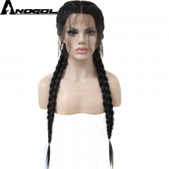 Anogol FreeCap+Smooth Twist Braided Hair Wigs with Baby Hair Synthetic Lace Front Wig for Vogue Lady Natural Black 24 inches