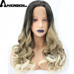 Anogol Free Cap+Long Body Wave Hair Wigs Middle Part Synthetic Lace Front Wig for Women Black Ombre Blonde 22 inches