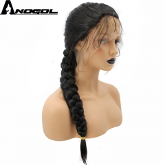 Anogol Free Cap+Natural Hairline Hand Tied Long Braided with Baby Hair Wigs Synthetic Lace Front Wig Natural Black 24 inches