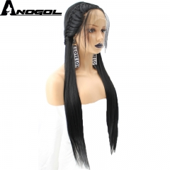 Anogol Free Cap+Braided Remy Hair Wigs with Baby Hair Synthetic Lace Front Wig for Daily Hairstyle natural black 24 inches