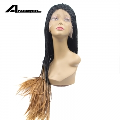 Anogol Free Cap+Natural Hairline Hand Tied Braided Long Hair Wigs Synthetic Lace Front Wig for Women Black Ombre Brown 20 inches