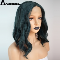Anogol Free Cap+Short Wavy Hairstyle Bob Wave Hair Wigs Synthetic Lace Front Wig for Women dark green 14 inches