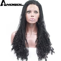 Anogol Free Cap+Natural Hairline Long Weave Hairstyle Braided Hair Wigs Synthetic Lace Front Wig natural black 24 inches