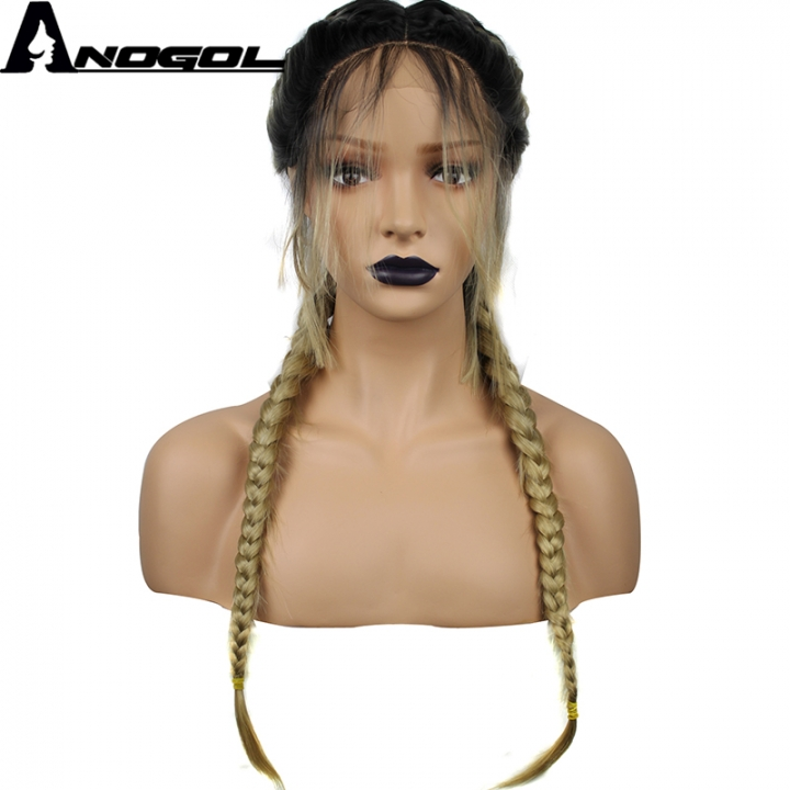 Anogol Free Cap+Braided Hairstyle Hair Wigs with Baby Hair Synthetic Lace Front Wig for Women black ombre blonde 24 inches