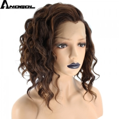 Anogol Free Cap+Curly Natural Hairstyle Short Wavy Hair Wigs Synthetic Lace Front Wig for Women brown 12 inches