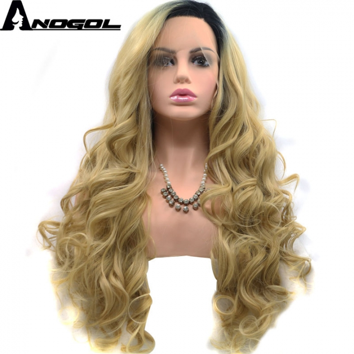 Anogol Free Cap+Puffy Long Body Wave Hairstyle Remy Hair Wigs Synthetic Lace Front Wig for Women black ombre blonde 20 inches