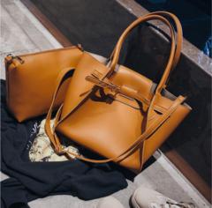 2 Pcs/Set New Styles Fashion Big Handbag Simple Shoulder Brown Business Daily Bags  For Women brown big