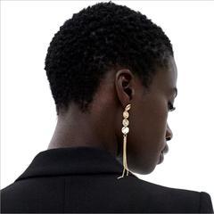 Temperament Simple Colourful Diamond Tassel Earrings Gold Retro Luxury Metal Jewellery Gold one size