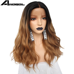Anogol Lace Front Wig Kanekalon Black Ombre Brown Long Natural Body Wave Synthetic Wigs for Women Black Ombre Brown 18 inches