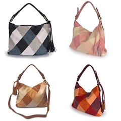 Affordable Handbag Square Stitching Contrast Color PU Leathers High Single Shoulder Capacity Zipper brown big