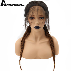 Anogol FreeCap+Natural Brown Long Wavy Double Braided Braids Wigs Synthetic Lace Front Wig for Women brown 24 inches