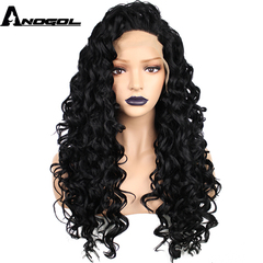 Anogol Free Cap+Middle Part Long Kinky Curly Hair Wigs Synthetic Lace Front Wig  for Women black 22 inches
