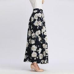 High Waist Long Skirt Women Causal Dress Flower Print Loose Maxi Dress Half Slip Muslim Islamic S Navy