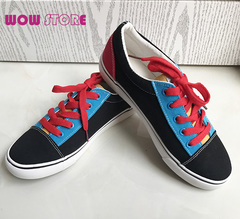 WOW STORE Low-top Women Shoes Sports Canvas Colorful fashion Ladies Shoes Wish 3 Pairs Of Shoelaces black 40