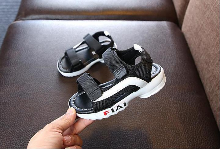 WOW STORE Summer Baby Boy Fashion Walking Shoes Kids Leather Sandals Girl Fashion Children Shoes black 26