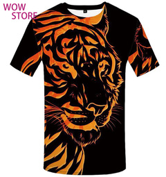 WOW STORE 3DPrint The Tiger TShirt Summer New Short Sleeved T-shirt Men's  Half Sleeves Big Size black m cotton