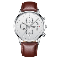 Sciyar Store Nibosi 1 Pcs Chronograph Calendar Waterproof Quartz Wristwatches for Men with Leather silver one size