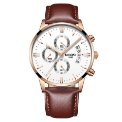 Sciyar Store Nibosi 1 Pcs Chronograph Calendar Waterproof Quartz Leather Wristwatches for Men gold white one size
