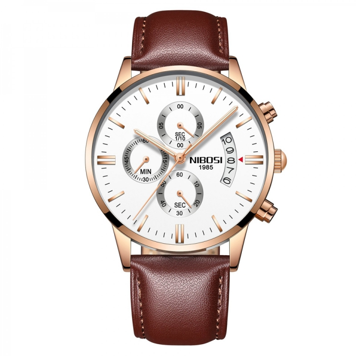 Sciyar Store Nibosi 1 Pcs Chronograph Calendar Waterproof Quartz Leather Wristwatches for Men gold white one size