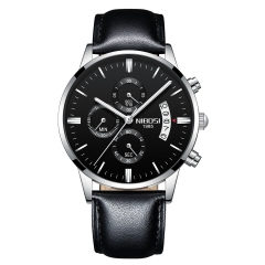 Sciyar Store Nibosi 1 Pcs Chronograph Calendar Waterproof Quartz Leather Wristwatches for Men silver black one size