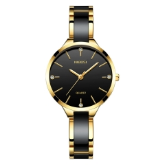 Sciyar Store Nibosi Fashion Waterproof Metals and Ceramics Watches For Women black
