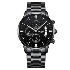 Sciyar Store Nibosi Men's Watches Fashion Casual Waterproof Military Quartz Wristwatches for Men black one size