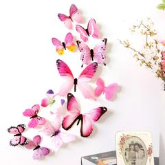 Sciyar Store 12pcs Decal Wall Stickers 3D Butterfly Rainbow PVC Wallpaper for living room pink 11cm(2pcs),8cm(2pcs),6cm(8pcs)