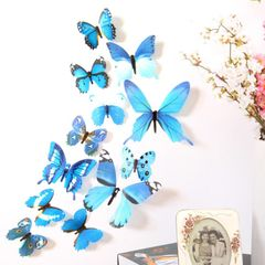 Sciyar Store 12pcs Decal Wall Stickers 3D Butterfly Rainbow PVC Wallpaper for living room blue 11cm(2pcs),8cm(2pcs),6cm(8pcs)