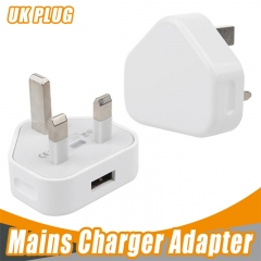 High quality 3 Pin UK Plug Single usb Charger AC usb Power Adapter Charger 1A white one size