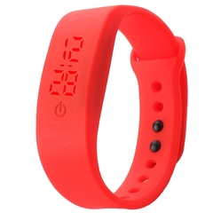 Chong Kai new fashion men and women silicone silicon strap watch sports bracelet digital LED watch red one size