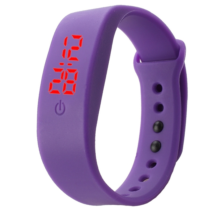 Chong Kai new fashion men and women silicone silicon strap watch sports bracelet digital LED watch purple one size