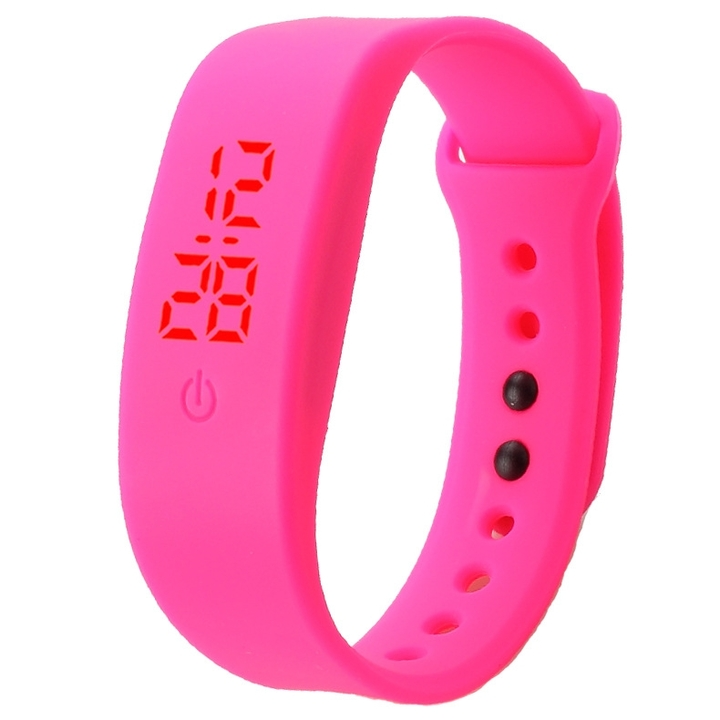 Chong Kai new fashion men and women silicone silicon strap watch sports bracelet digital LED watch Rose one size