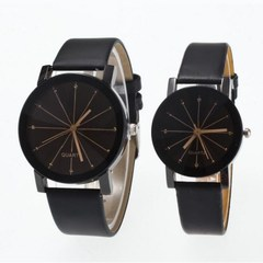 Couple Watches Women/Men Fashion Watch Quartz Dial Clock Lovers Casual Leather Watch Couple Black 22cm