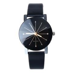 Couple Watches Women/Men Fashion Watch Quartz Dial Clock Lovers Casual Leather Watch men black 22cm