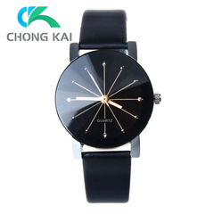 Couple Watches Women/Men Fashion Watch Quartz Dial Clock Lovers Casual Leather Watch men black 22cm