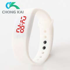 Chong Kai new fashion men and women silicone silicon strap watch sports bracelet digital LED watch white one size