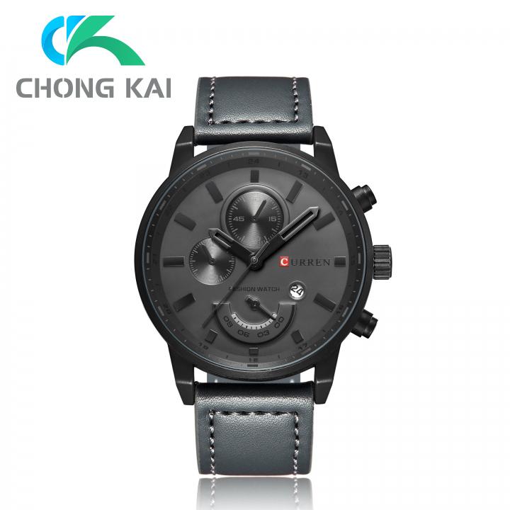 ChongKai CURREN New leisure men watch strap calendar quartz watch black moderate