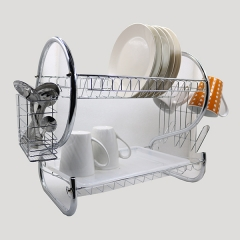 2 TIER STAINLESS STEEL DISH DRAINER  DRYING RACK Silver normal