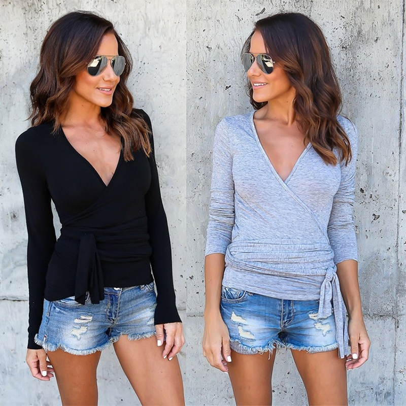 fa1f878d66323 Women Long Sleeve V Neck Tee Shirt Solid Color Slim Blouses Top ...