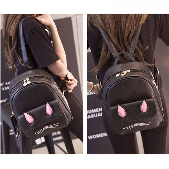 9a739cba32 Cute Small Backpack Mini Purse Casual Waterproof Daypacks Leather for Teen  Girls and Women black one