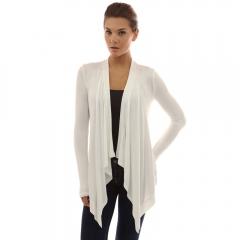 Womens Open Front Cardigan Long Sleeve Drape Hem Soft Lightweight Cardigans Coat white s